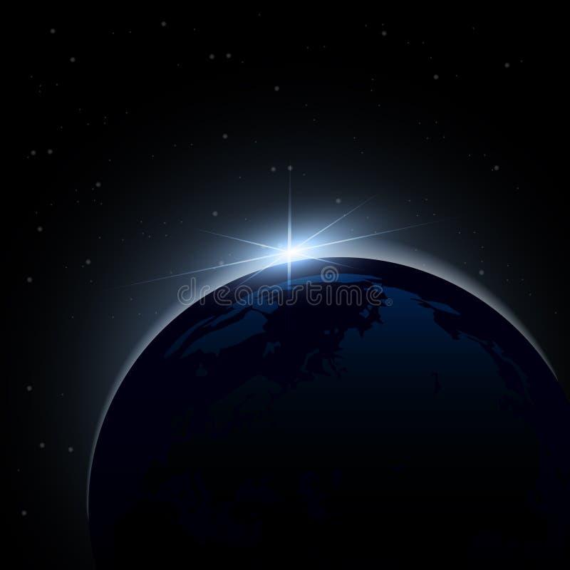 Dawn van ruimte Dawn van ruimte Het toenemen zon achter de aarde Het kan voor prestaties van het ontwerpwerk noodzakelijk zijn royalty-vrije illustratie