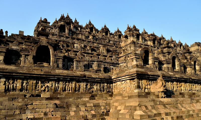 Dawn view of the Borobudur, Buddhist temple in Java. Indonesia stock images