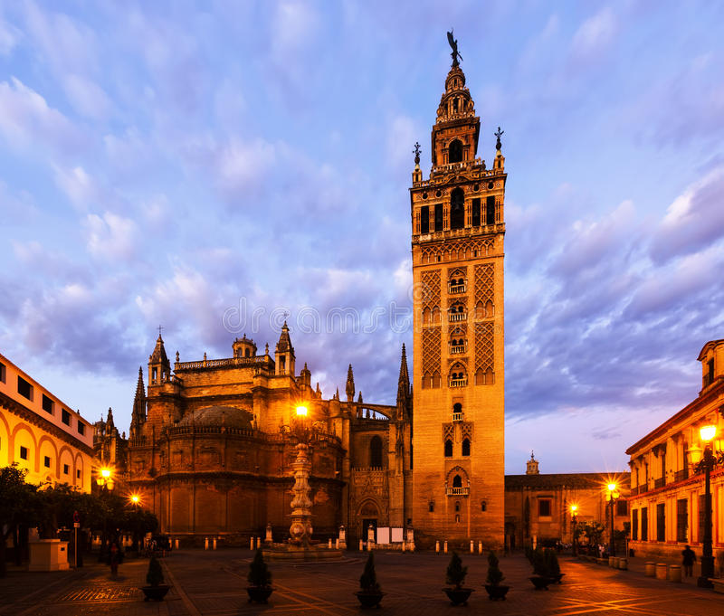 Dawn view of Giralda tower. Seville, Spain royalty free stock images