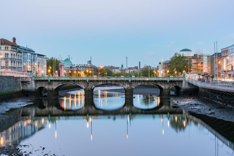 Dawn view of the Grattan Bridge. At Dublin, Ireland royalty free stock photography