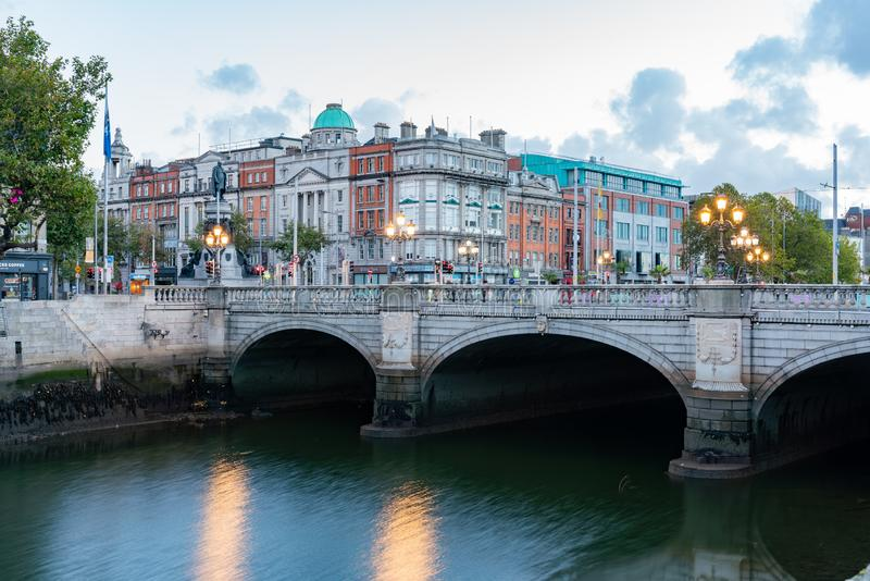 Dawn view of the Grattan Bridge. At Dublin, Ireland stock photo