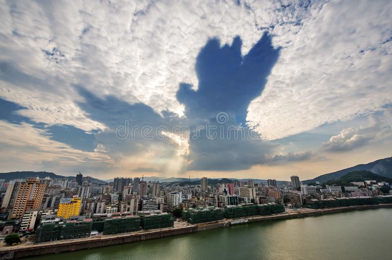 Dawn view in Shaoguan city,NO.2. Dawn view in Shaoguan,Guangdong province ,China.with the view zhenjiang river and strange cloud royalty free stock photography