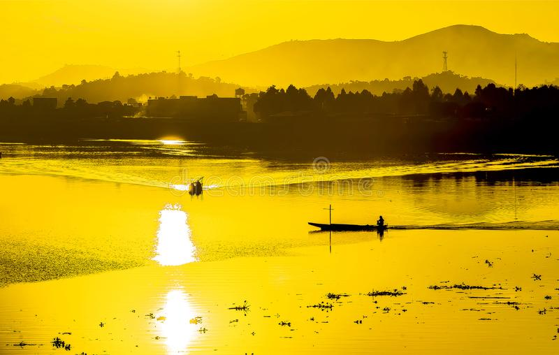 Dawn view in Shaoguan. Guangdong province ,China.a picture fo fishpond stock image