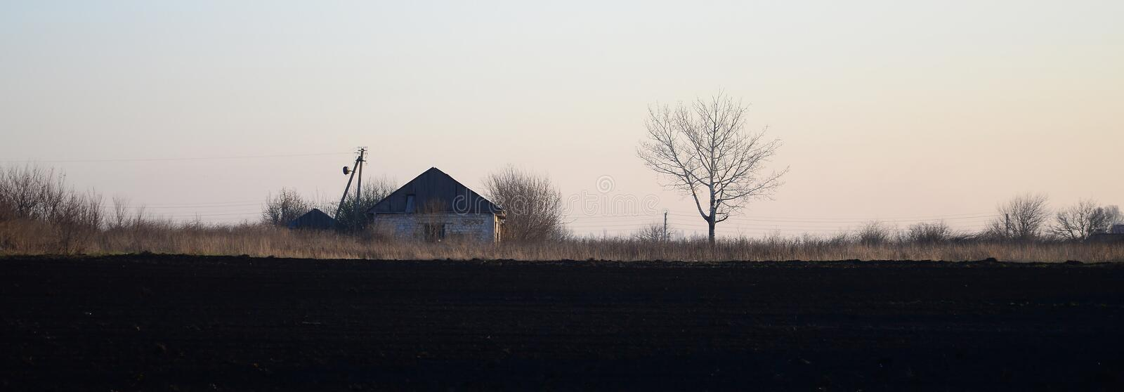 Dawn in the village. A minimalistic photo with a horizon line on. Which there is an apartment house and a tree royalty free stock photos