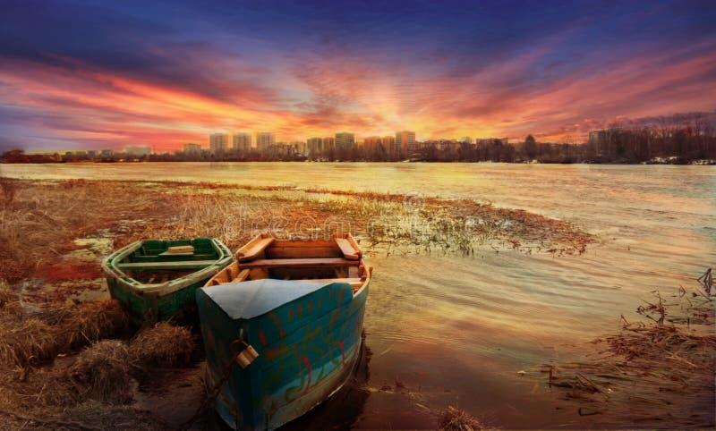 Dawn on the Volga royalty free stock photography