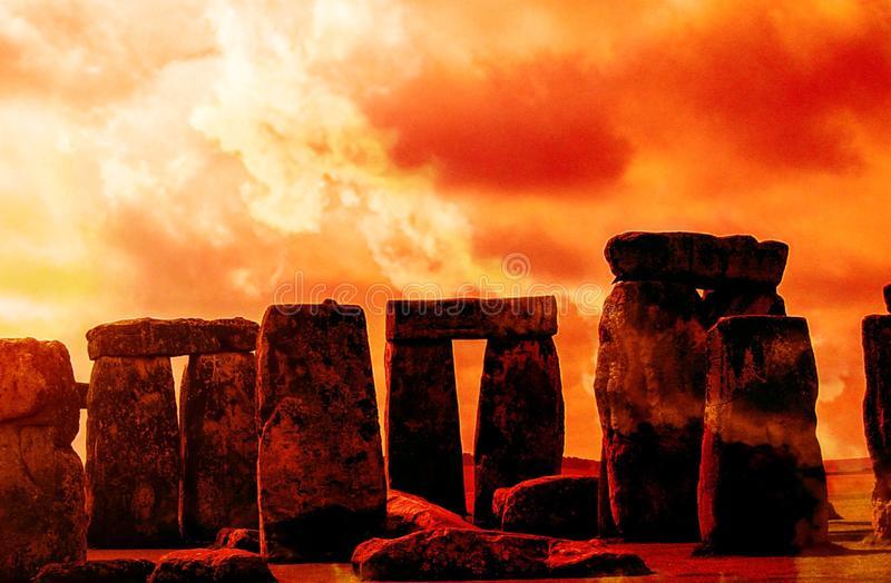 Dawn of the Winter Solstice. At Stonehenge, England royalty free stock image