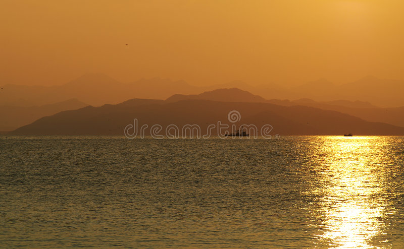 Dawning. Beautiful type with nave on dawning in mountain stock photography