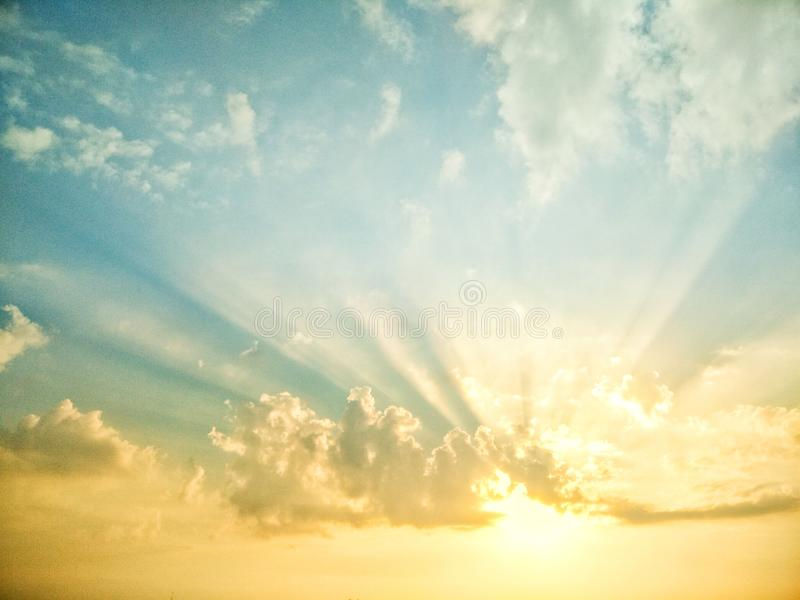 Sun rise. Dawning blue sky royalty free stock images