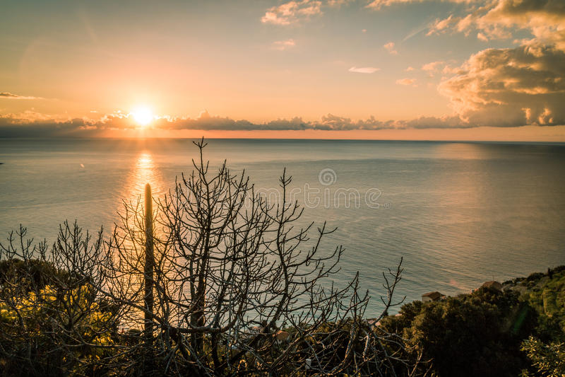 Dawning in Bordighera, Italy. Most beautiful Dawning in Bordighera, Italy royalty free stock images