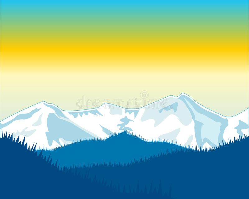 Dawning in mountain vector illustration