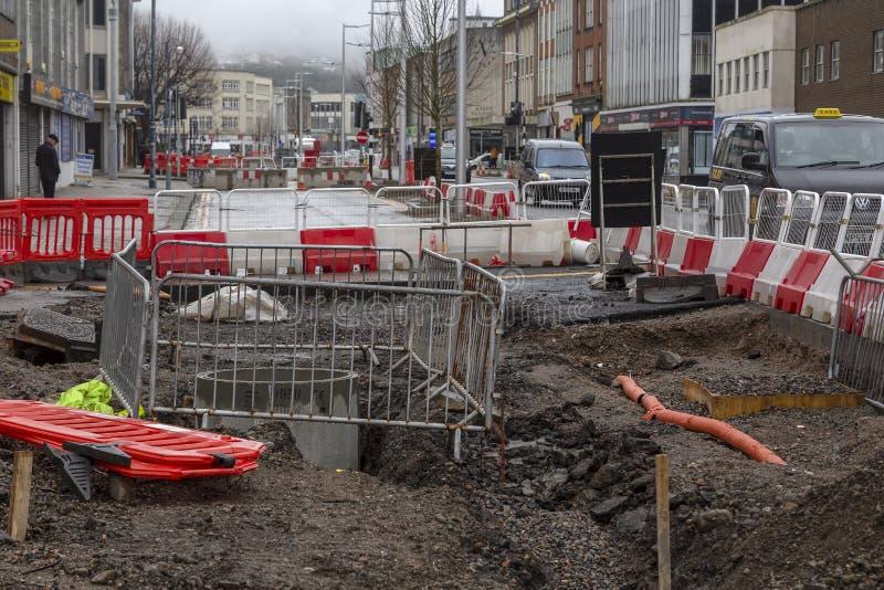 Dawnusbouw Swansea royalty-vrije stock foto's