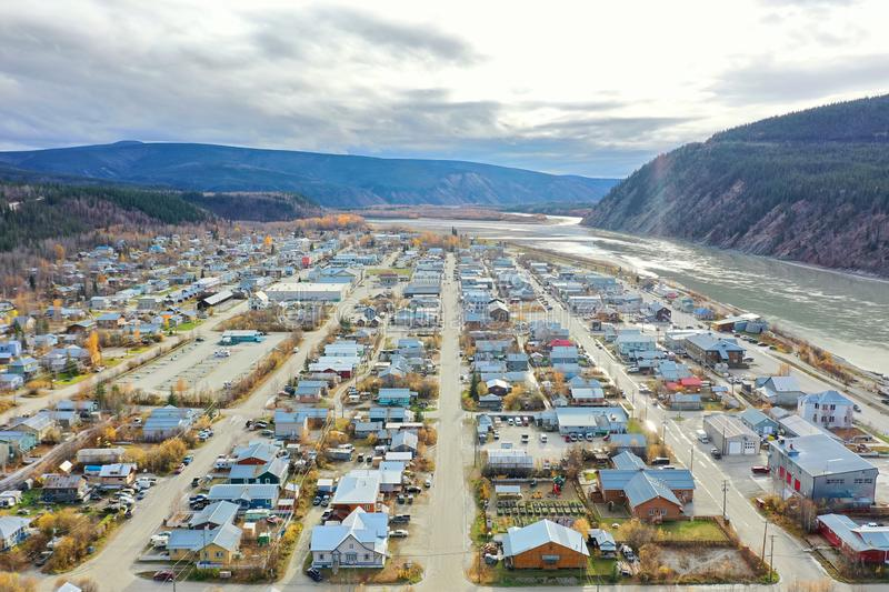 Dawson City. North to South drone view of the Dawson City main streets with the Yukon river to the right stock images