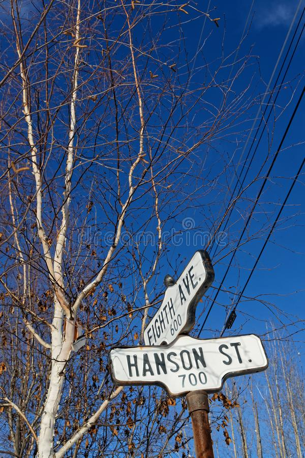 Sign at streets of Dawson City. DAWSON CITY, YUKON, CANADA, March 10, 2019 : A street of the city, linked to the Klondike Gold Rush and featured prominently in stock images