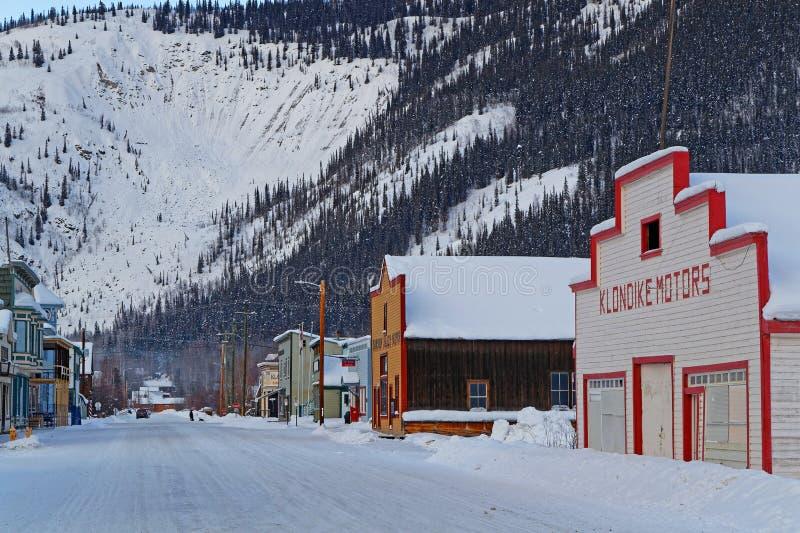 A street of the Klondike Gold Rush City. DAWSON CITY, YUKON, CANADA, March 10, 2019 : A street of the city, linked to the Klondike Gold Rush and featured royalty free stock photography