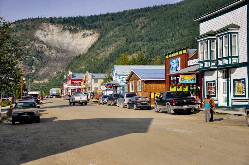 Ols historical building in Dawson City, Yukon. Dawson City, Yukon is the heart of the world-famous Klondike Gold Rush stock photography