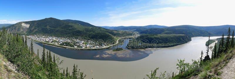 Dawson City, Yukon. Panorama from above Dawson City stock photos