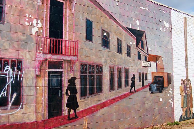 Dawson Creek, British Columbia, Canada Street Art. Street Art depecting World War Two at Mile 0 Alaska Highway stock image