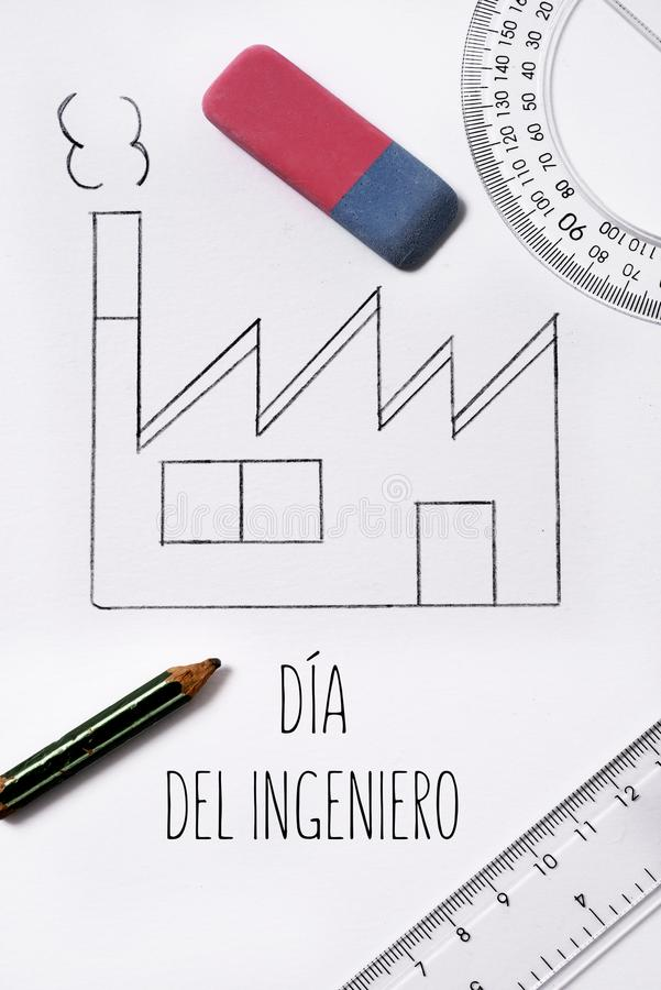 Day' di 'engineers del testo nello Spagnolo immagine stock