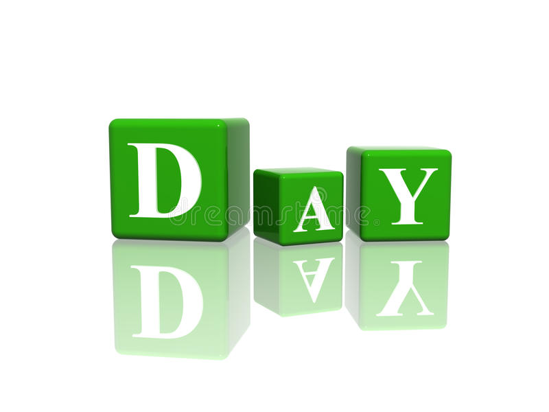 Day in 3d cubes. 3d green cubes with letters makes day stock illustration