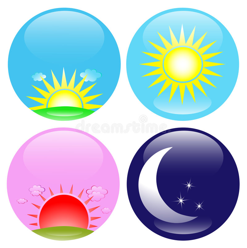 Free Day And Night Icons Set Royalty Free Stock Image - 9254566