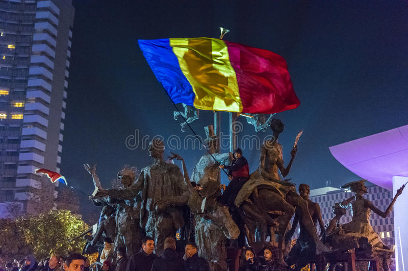 Day 3 Anti government protesters in Bucharest stock images