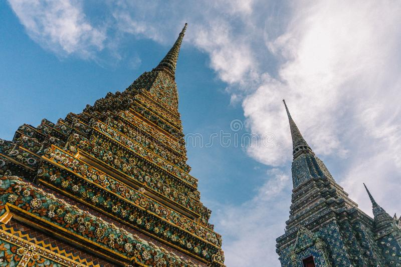 The day in bangkok, Thailand, Wat Po Temple stock photography