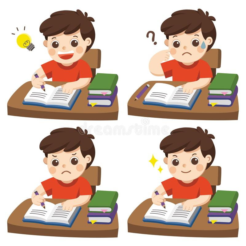 The daily day for boy student doing homework. Set of different kid pose learning royalty free illustration