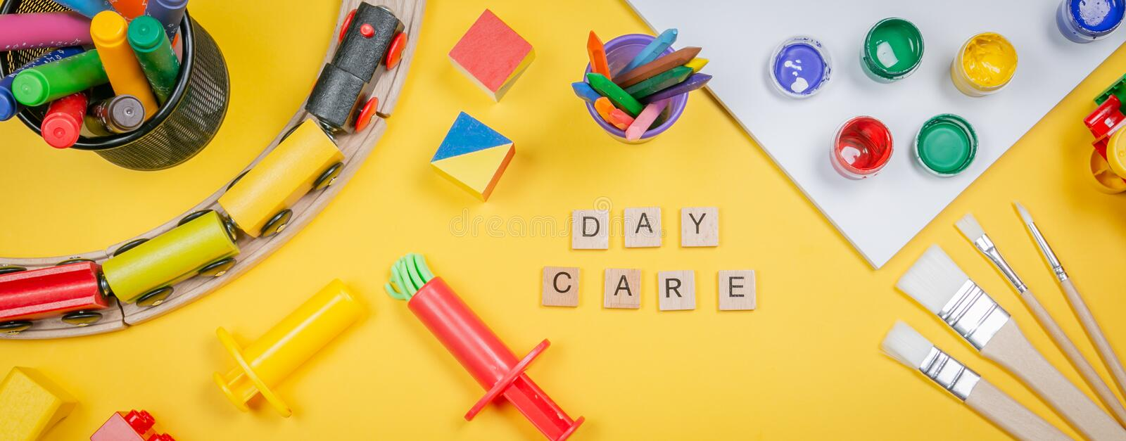 Day care concept - toy and art supply royalty free stock image