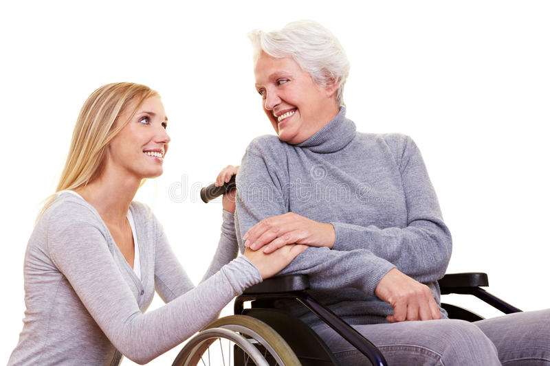 Day care for elderly woman royalty free stock photography