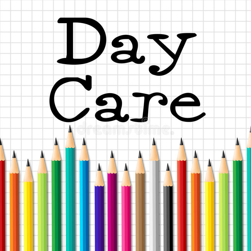 Day Care Pencils Indicates Pre School And Childhood stock illustration