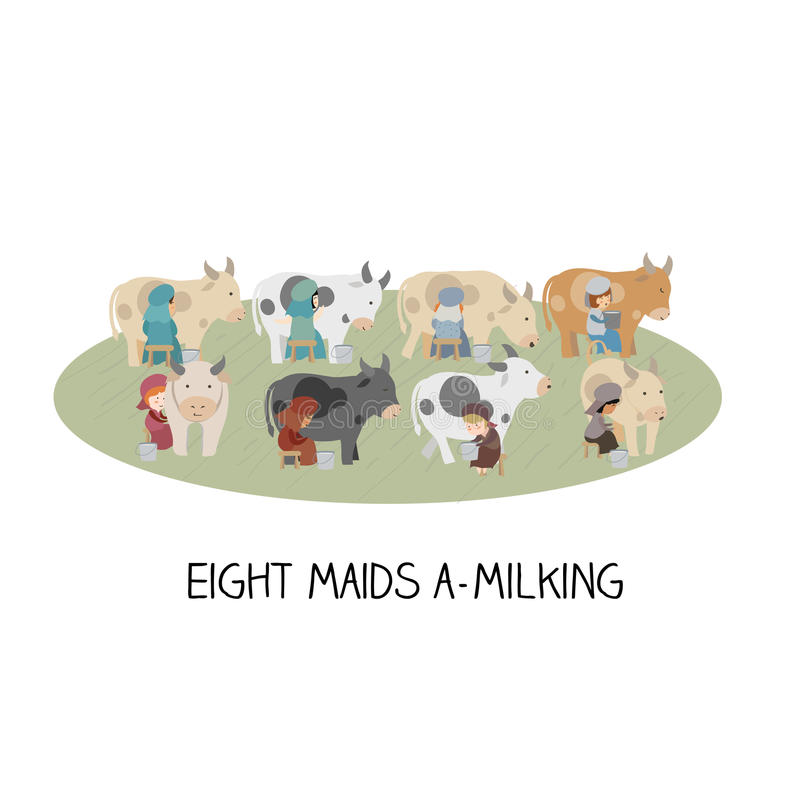 12 day of christmas - eight maids a milking vector illustration