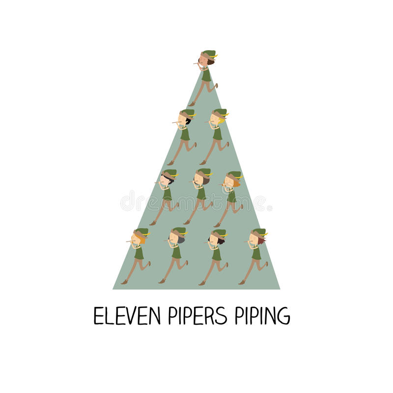 12 day of christmas - eleven pipers piping vector illustration