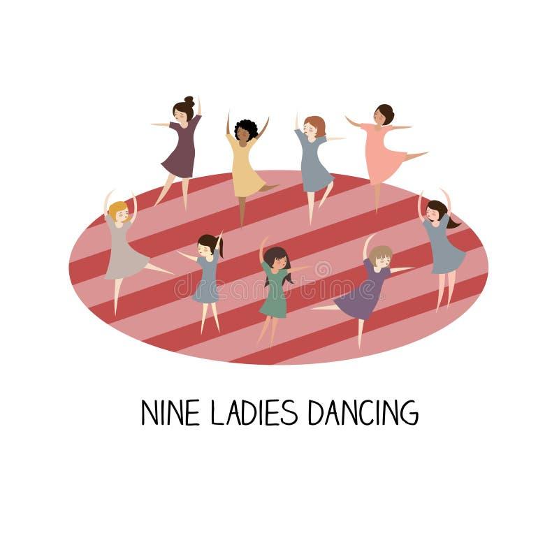 12 day of christmas - nine ladies dancing vector illustration