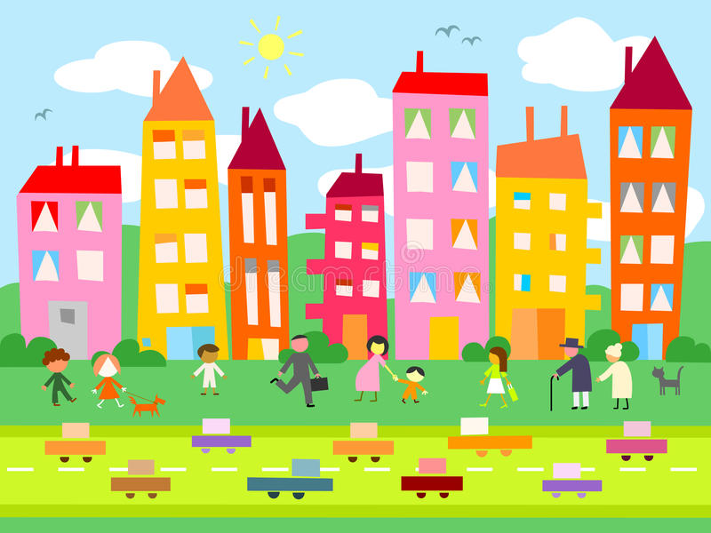 Day in the city stock illustration