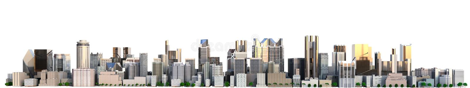 Day city with reflection 3d rendering image on white. Day city with reflection 3d rendering image on royalty free illustration