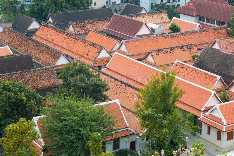 Cityscape of Bangkok with roof of a Buddhist temple. Day cityscape of Bangkok with roof of a Buddhist temple royalty free stock images