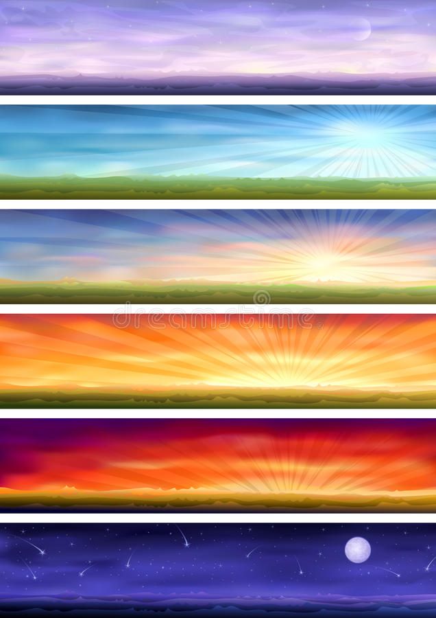 Download Day Cycle - Six Landscapes At Different Time Stock Vector - Image: 10301856