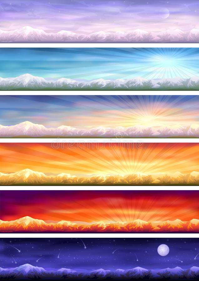 Day Cycle - Six Landscapes At Different Time Stock Images