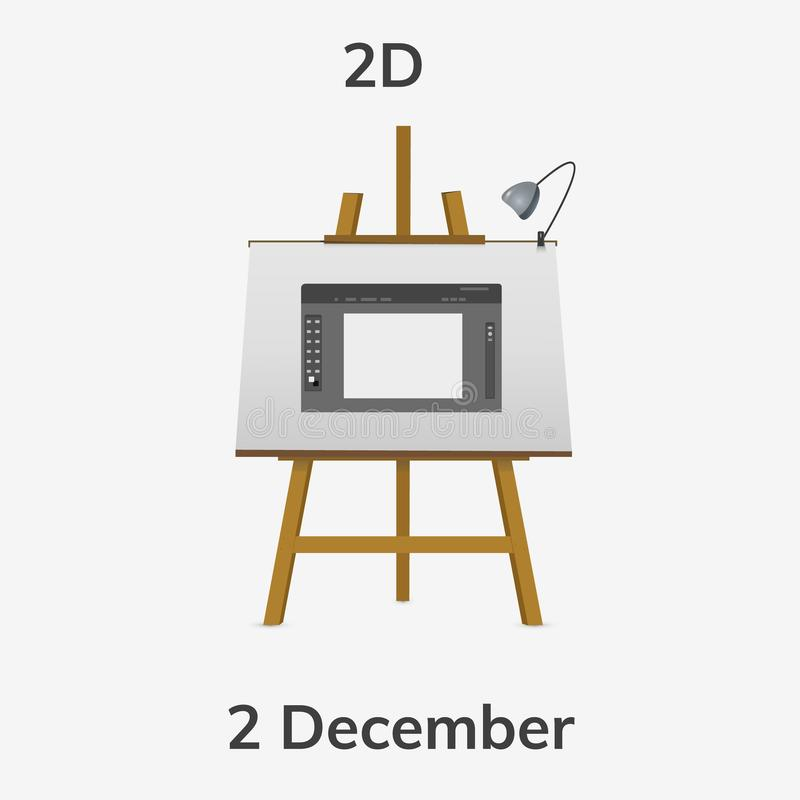 Day 2D artists. December 2. Greeting card. Holiday - day of 2D artists. illustration on easel stock illustration