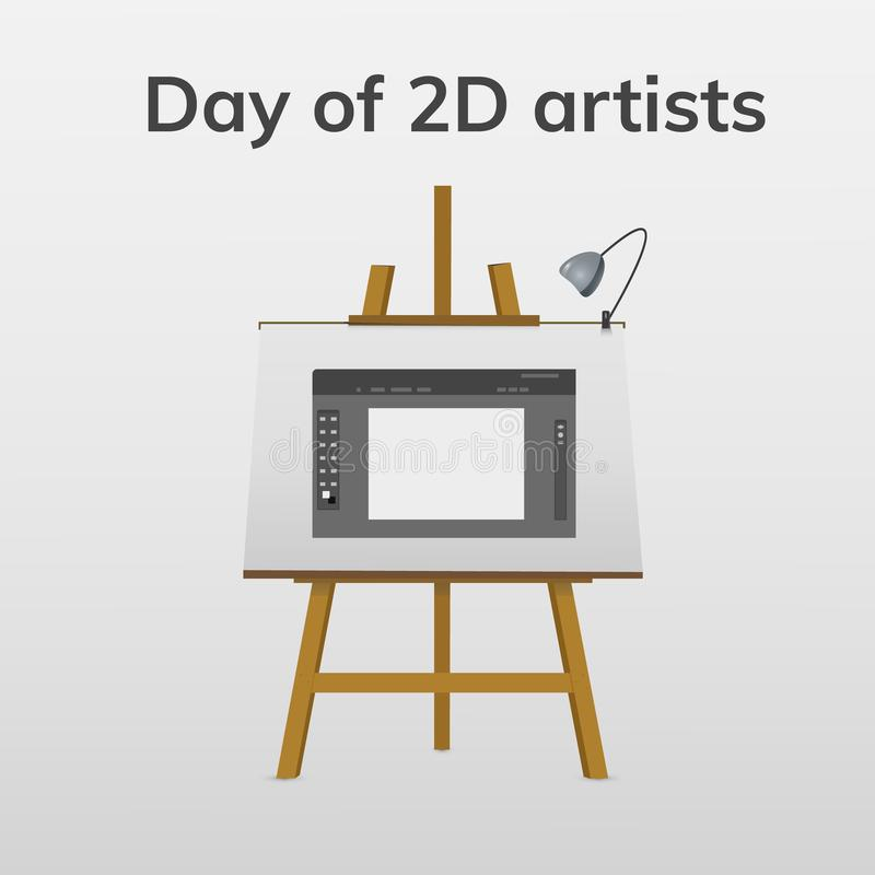 Day 2D artists. December 2. Greeting card. Holiday - day of 2D artists. illustration on easel vector illustration