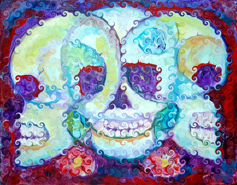Day of the Dead. The Mexican festival el dia de los muertos, which honors the deceased, or known as the day of the dead. Digital manipulation artwork royalty free illustration