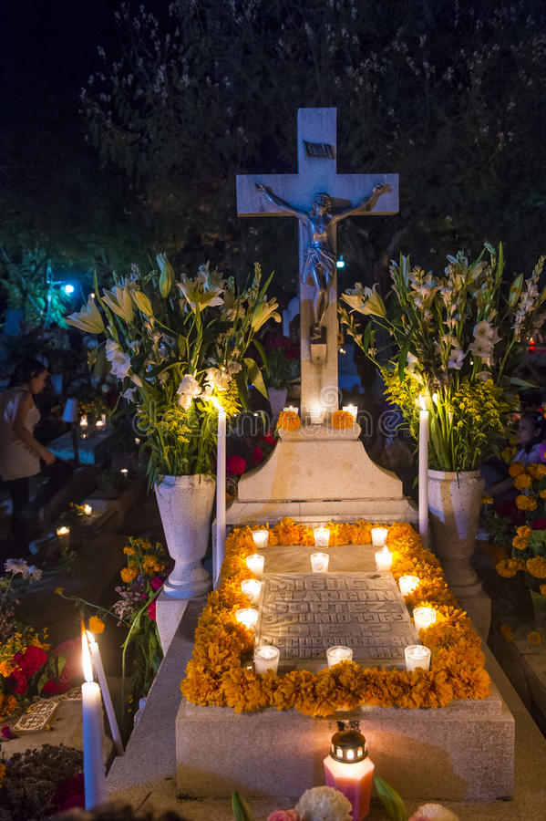 Day of the Dead. The cemetery of Oaxaca at night during Day of the Dead royalty free stock photo