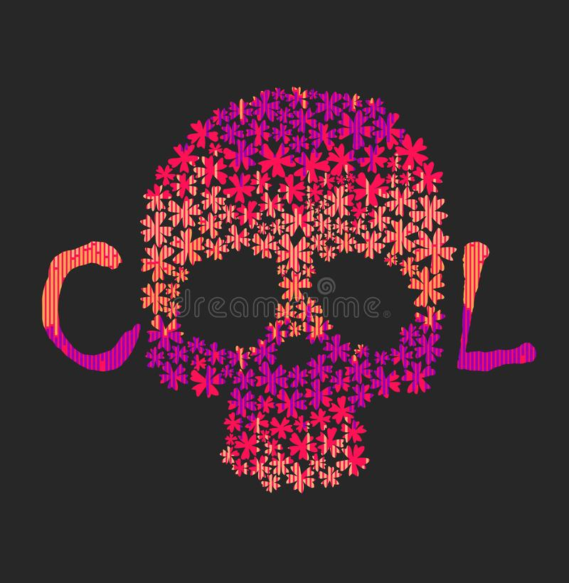 Day of The Dead colorful Skull with floral ornament stock illustration