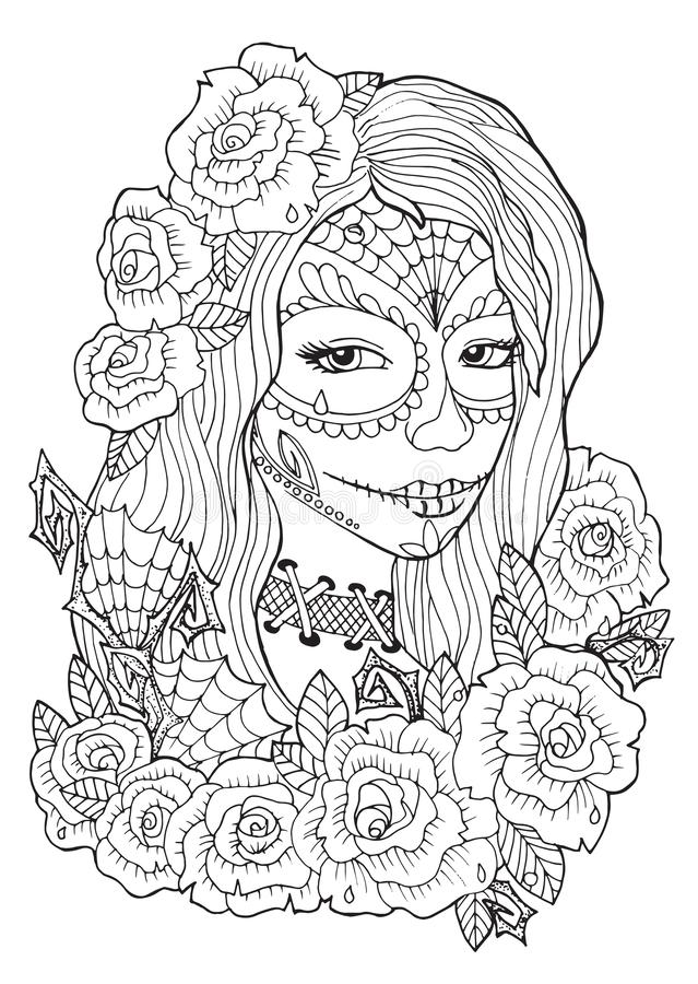 Day Of The Dead Coloring Pages For Adults Stock Vector - Illustration Of  Horror, Ancestors: 162061248