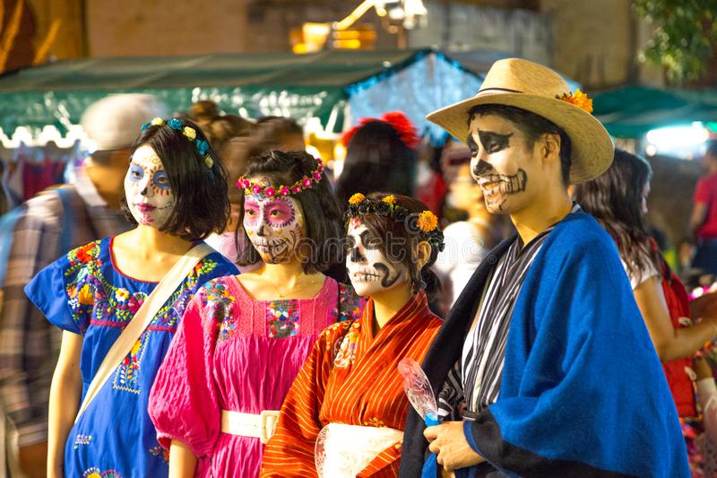 Day of the Dead Costumes. Day of the Dead celebrants show off their holiday costumes in Oaxaca, Mexico royalty free stock photos