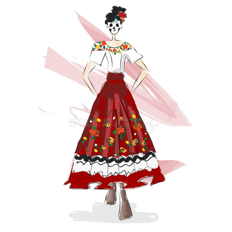 Day of the dead, Halloween fashion design illustration watercolor sketch. Mexican traditional dress and flower skull mask. stock illustration