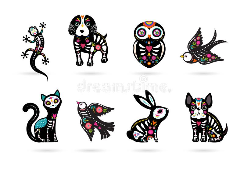 Day of the dead, Dia de los moertos, animals skulls and skeleton decorated with colorful Mexican elements and flowers vector illustration
