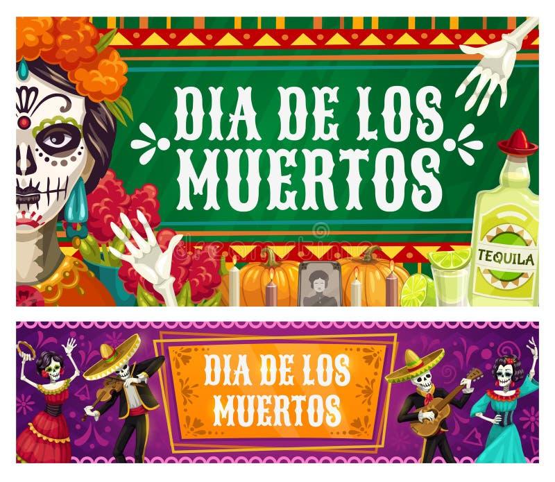 Day of Dead Dia de los Muertos, catrina calavera. Dia de los Muertos, Mexican Day of Dead fiesta, catrina calavera skeletons in sombrero play maracas and dance stock illustration