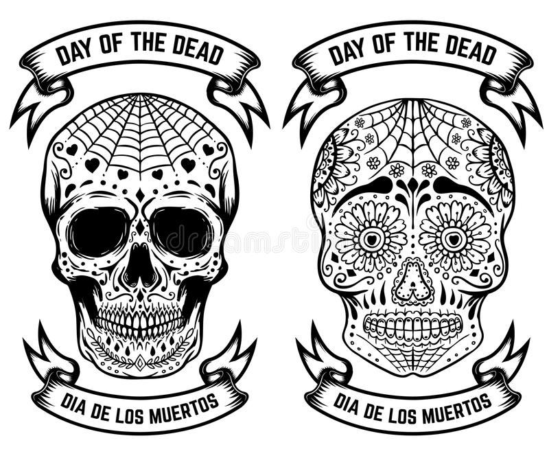 Day of the dead dia de los muertos set of the sugar skulls design day of the dead dia de los muertos set of the sugar skulls design elements for poster greeting card banner vector illustration m4hsunfo