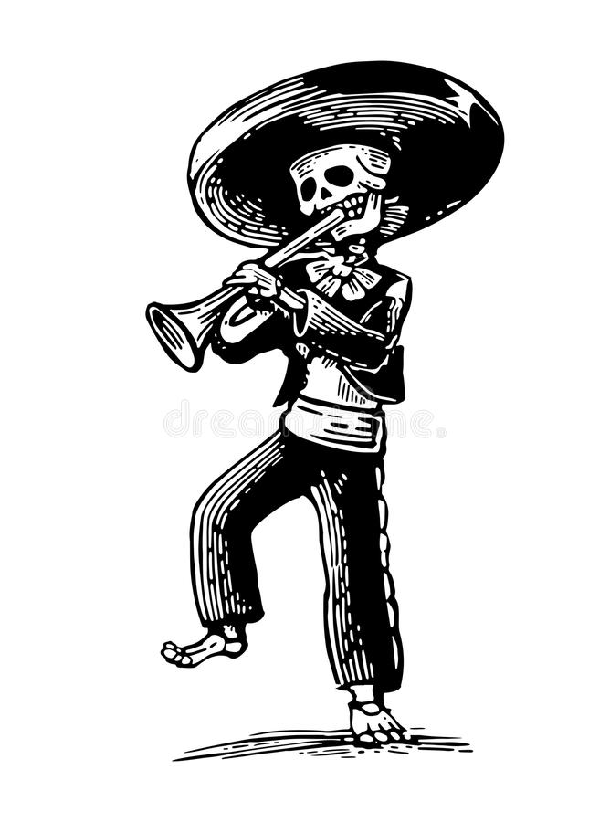 Day of the Dead, Dia de los Muertos. The skeleton in the Mexican national costumes dance and play the trumpet. royalty free illustration